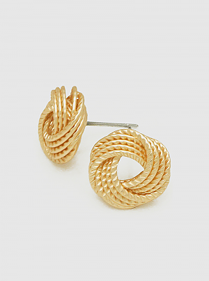 Textured Brass Geometric Rope Love Knot Stud Earrings