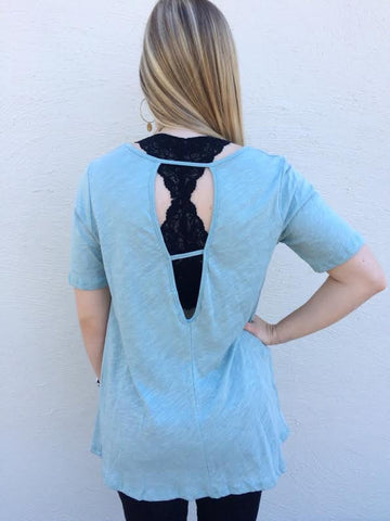 Scoop Neck Cut Out Back Top