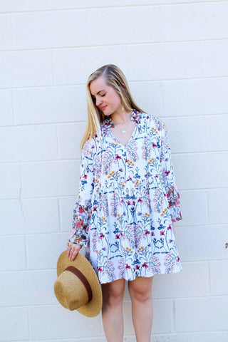 3/4 Sleeve Floral Print Dress