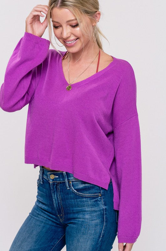 V-Neck Cropped Pullover Sweater