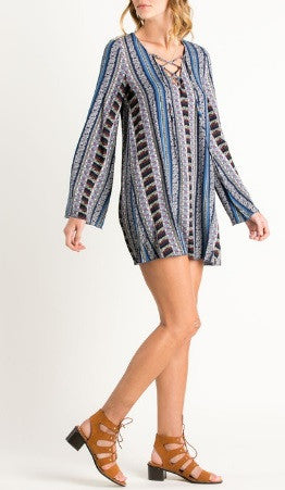 Vintage Stripe Lace-Up Bell Sleeve Flowy Tunic