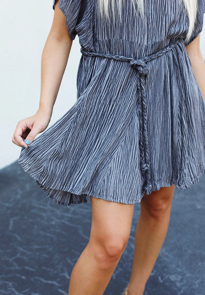 Textured Ruffle Dress With Tie