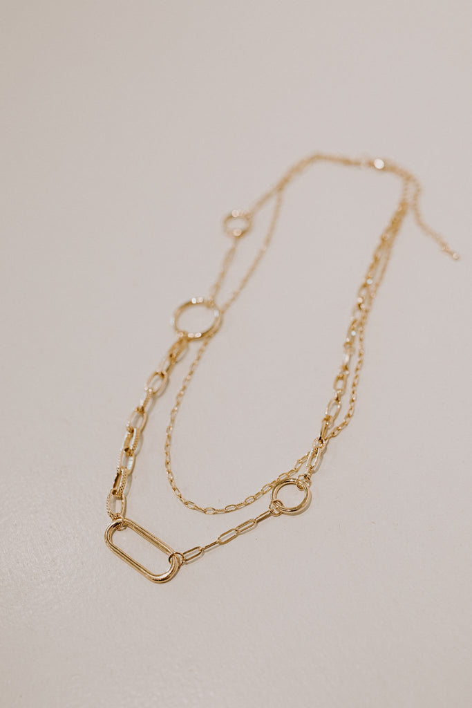 Layered Circle Hoop & Chain Necklace