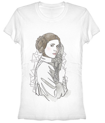 Star Wars:  Leia Outline Juniors T-Shirt - First Person Clothing