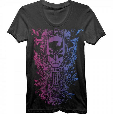 Batman: Pink and Blue Print Juniors T-Shirt - First Person Clothing