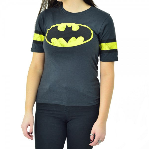 Batman:  Black Heather Hockey Logo Juniors T-Shirt - First Person Clothing