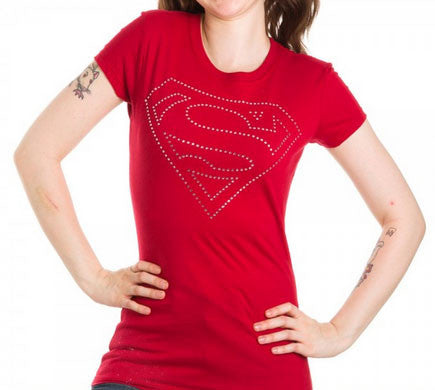 Superman:  Superman Logo Rhinestone Juniors T-Shirt - First Person Clothing