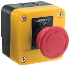 Emergency stop switch mounted in a box 10amp 1 NC and 1 NO