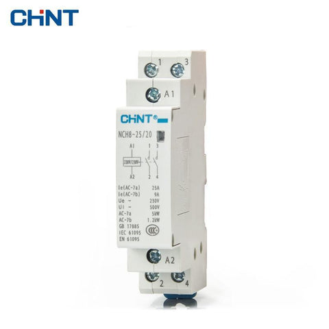 CHINT 25A 2NO 230VAC coil Din rail 2 pole relay