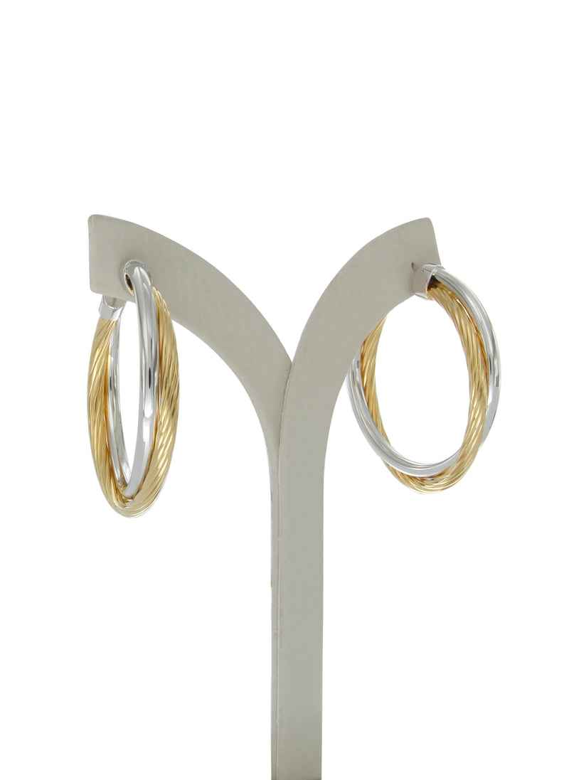 Allegra 4cm two tone hoops
