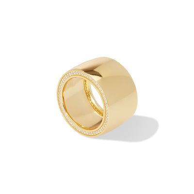 Cigar band gold vermeil ring
