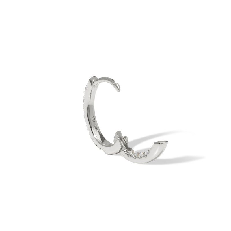 Oval sterling silver huggie