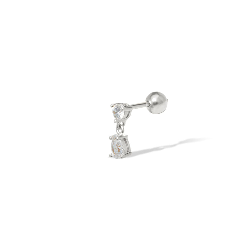 Phoebe sterling silver stud (ball screw)