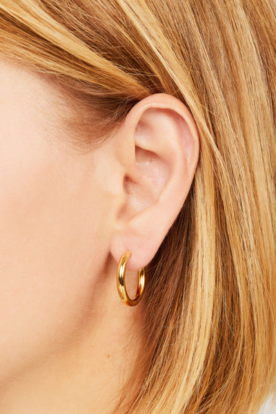 Simple 15mm gold vermeil mini hoop