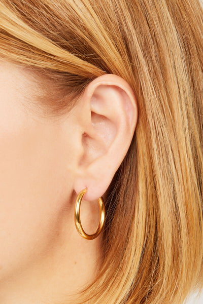 Simple 20 mm gold vermeil mini hoop