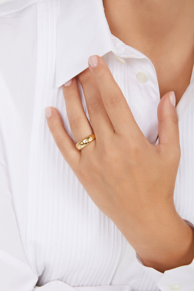 Small Cosmos gold vermeil ring