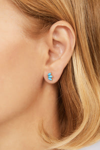 Marquise Fan turquoise gold vermeil stud