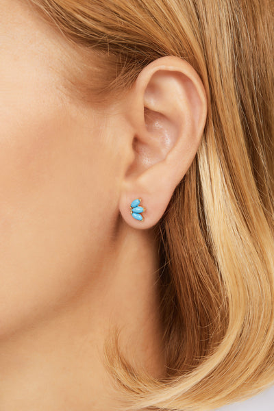 Marquise Fan turquoise gold vermeil stud (ball screw)