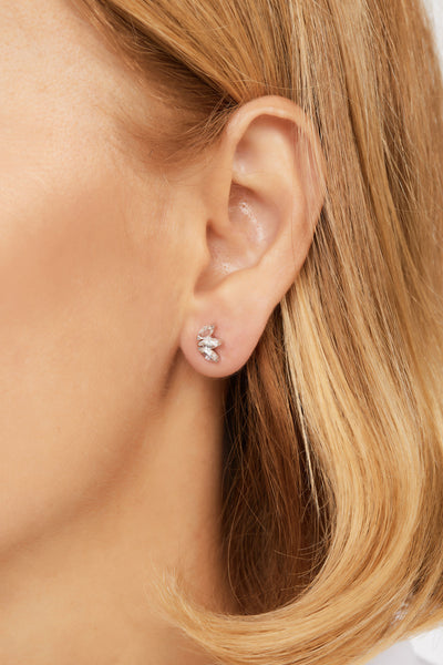 Marquise Fan white cz sterling silver stud (ball screw)
