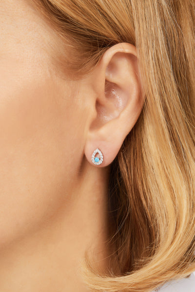 """Mati"" with turquoise sterling silver stud"