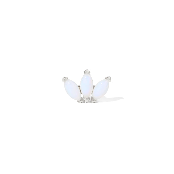 Marquise Fan opal sterling silver stud (ball screw)