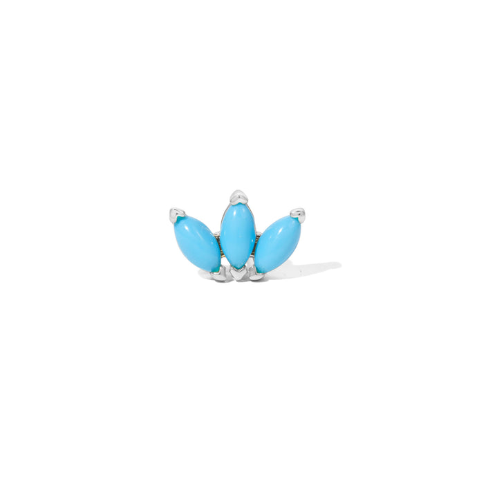 Marquise Fan turquoise sterling silver stud