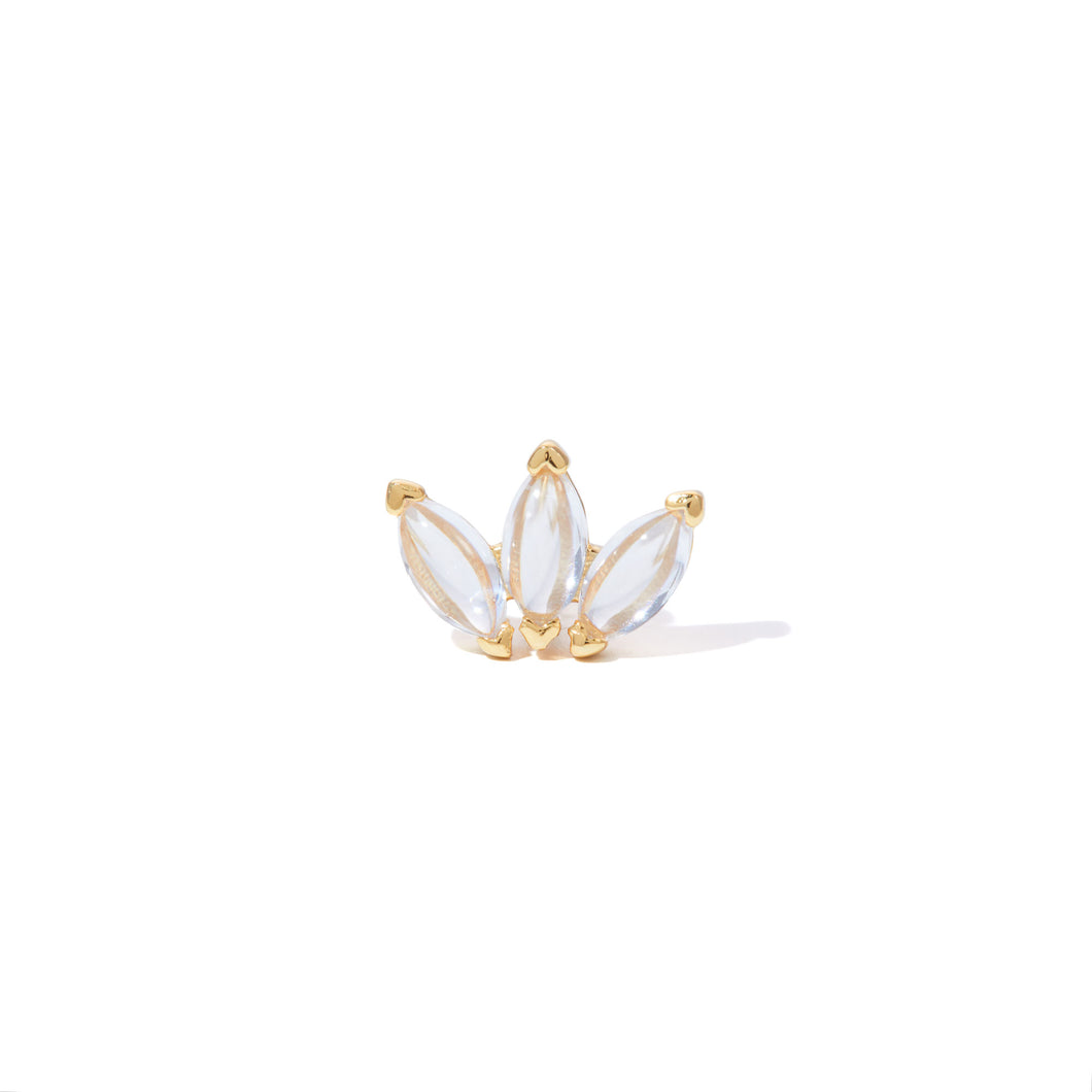 Marquise Fan white cz gold vermeil stud (ball screw)