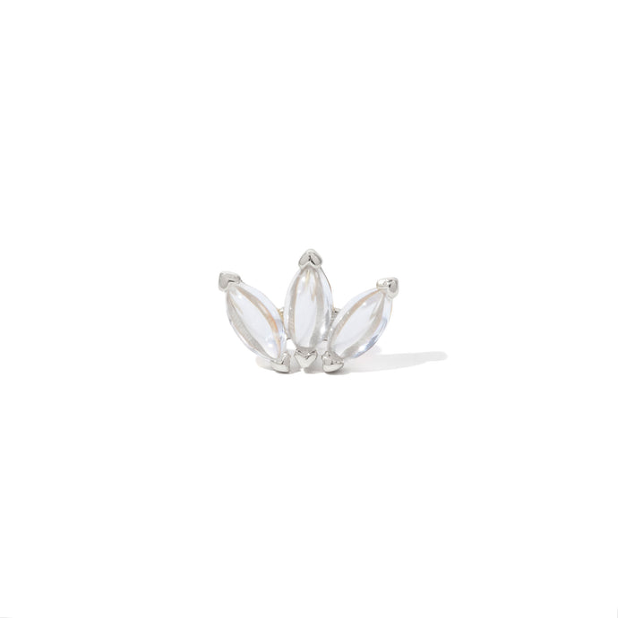 Marquise Fan white cz sterling silver stud