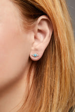 Load image into Gallery viewer, Evil eye turquoise sterling silver stud (ball screw)