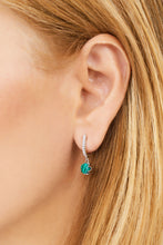 Load image into Gallery viewer, Halo malachite sterling silver earring