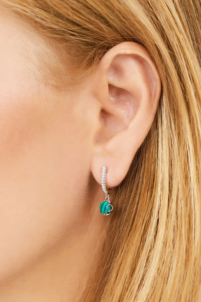 Halo malachite sterling silver earring