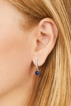 Load image into Gallery viewer, Halo lapis sterling silver earring