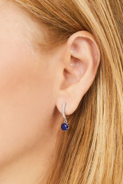 Halo lapis sterling silver earring