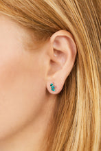 Load image into Gallery viewer, Marquise Fan malachite sterling silver stud (ball screw)