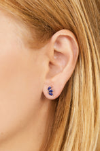 Load image into Gallery viewer, Marquise Fan lapis sterling silver stud (ball screw)