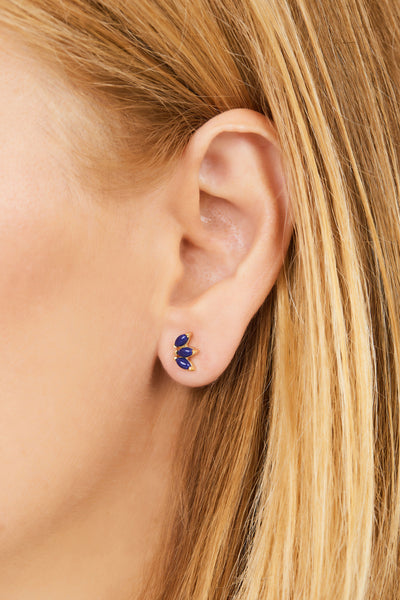 Marquise Fan lapis gold plated stud