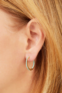Inside-Out 22 mm turquoise gold vermeil hoop