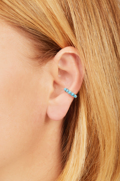 Jumbo turquoise stones sterling silver ear cuff