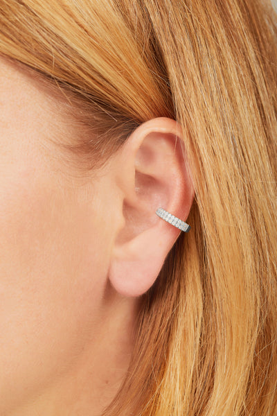 Two rows opal sterling silver large ear cuff