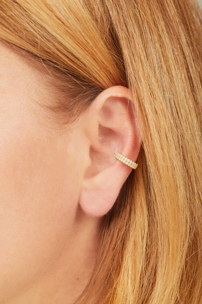 Two rows opal gold vermeil large ear cuff