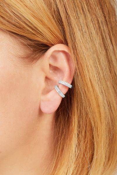 Two rows sterling silver large ear cuff
