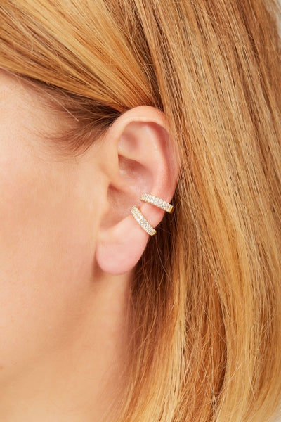 Two rows gold vermeil medium ear cuff