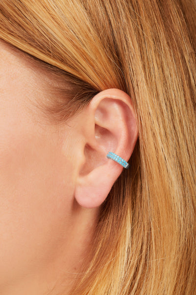 Two rows turquoise sterling silver large ear cuff