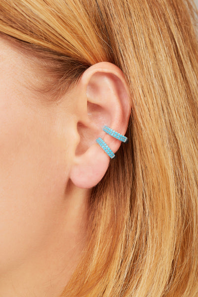 Two rows turquoise sterling silver medium ear cuff