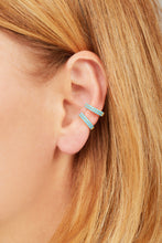 Load image into Gallery viewer, Two rows turquoise gold vermeil large ear cuff