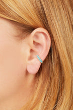 Load image into Gallery viewer, Two rows turquoise gold vermeil medium ear cuff