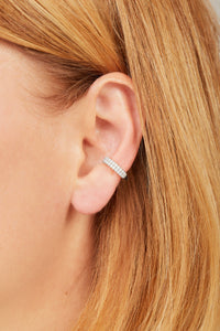 Two rows opal sterling silver medium ear cuff