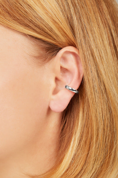Simple sterling silver large ear cuff