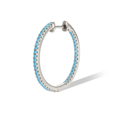 Inside-Out 22 mm turquoise sterling silver hoop