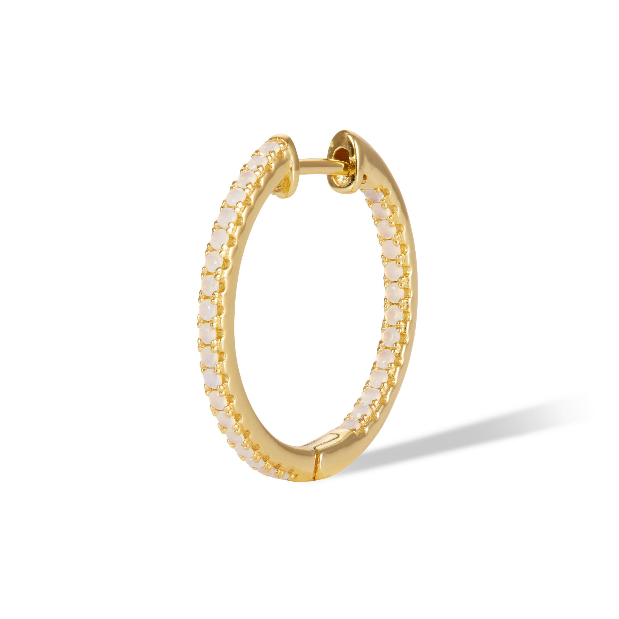 Inside-Out 18 mm opal gold vermeil hoop